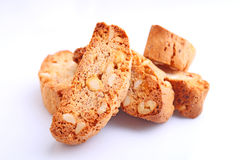Biscotti with nuts on a white background Royalty Free Stock Photography