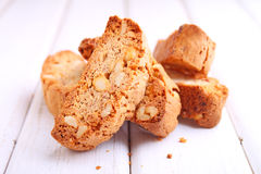 Biscotti with nuts on a white background Stock Photography