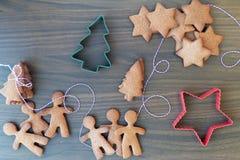Biscotti o biscotti del pan di zenzero di Natale Fotografie Stock