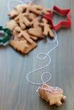 Biscotti o biscotti del pan di zenzero di Natale Fotografia Stock