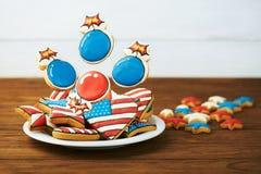 Biscotti patriottici per il quarto luglio Fotografie Stock Libere da Diritti