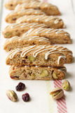 Biscotti  with pistachio and cranberry. Stock Images
