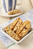 Biscotti  with pistachio and cranberry. Royalty Free Stock Photos