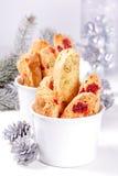 Biscotti with pistachios. Biscotti with pistachios and cherries stock photos