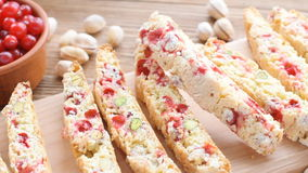 Biscotti with pistachios and cranberries. Concept of cooking stock footage
