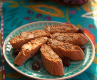 Biscotti plate. A plate of nut biscotti and cranberry Stock Photography