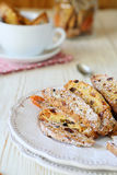 Biscotti on a plate and in a jar Royalty Free Stock Image