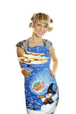 Biscotti pronti donna per natale Fotografie Stock