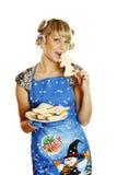 Biscotti pronti donna per natale Fotografie Stock Libere da Diritti