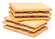 Biscotti riempiti crema del cioccolato Immagine Stock