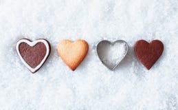 Biscotti romantici del cuore di natale Immagini Stock Libere da Diritti