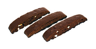 Biscotti Rows. Three chocolate and almond biscotti slices in a row stock photography
