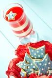 Biscotti a strisce della stella e della gelatina Fotografia Stock