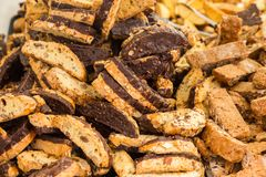 Biscotti. Traditional Italian biscotti cookies with chocolate Stock Photos