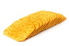 Biscotti un cracker su un fondo bianco isolato fotografia stock libera da diritti