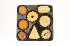 Biscotti in un vassoio fotografie stock