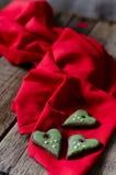 Biscotti verdi del cuore Fotografia Stock Libera da Diritti