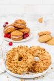 Biscotto al burro, biscotti rotondi con i dadi, colpo in decorazione fotografie stock