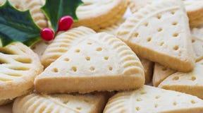 Biscotto al burro di Natale e ramoscello di agrifoglio Immagine Stock
