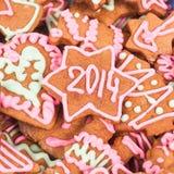Biscotto casalingo del nuovo anno con il numero 2014 Immagine Stock Libera da Diritti