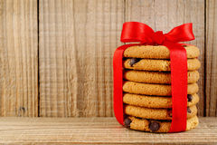 Biscotto con di pepita di cioccolato Immagini Stock