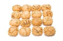 Biscotto con il materiale da otturazione crema del cioccolato amaro Immagini Stock
