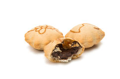 Biscotto con il materiale da otturazione crema del cioccolato amaro Fotografia Stock