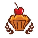 Biscotto con la ciliegia sul logo superiore Fotografia Stock Libera da Diritti