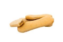 Biscotto dei Ladyfingers isolato su bianco immagine stock