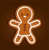 Biscotto del carattere dell'uomo di pan di zenzero regolare su un fondo marrone illustrazione di stock