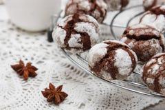 Biscotto del cioccolato con le crepe Immagini Stock