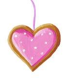 Biscotto del cuore di natale del pan di zenzero Fotografia Stock Libera da Diritti