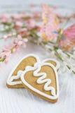 Biscotto del pan di zenzero del biglietto di S. Valentino di figura del cuore Fotografia Stock