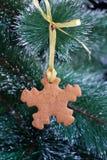 Biscotto del pan di zenzero del fiocco di neve sull'albero di Natale Fotografia Stock