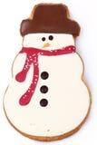 Biscotto del pan di zenzero del pupazzo di neve immagine stock