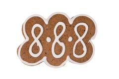 Biscotto del pan di zenzero di Natale isolato su un fondo bianco Fotografia Stock Libera da Diritti