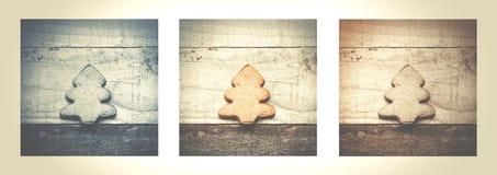 Biscotto dell'albero di Natale su fondo di legno Albero di Natale Orn Immagini Stock