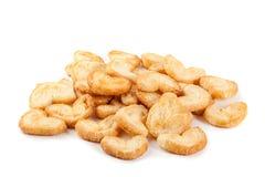 Biscotto della pasta sfoglia isolato su bianco fotografie stock