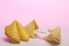 Biscotto di fortuna - annuncio di nascita Fotografia Stock