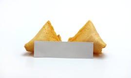 Biscotto di fortuna in bianco aperto singolo Fotografia Stock Libera da Diritti