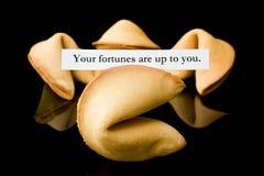 Biscotto di fortuna: Le vostre fortune dipendono da voi. Fotografia Stock Libera da Diritti
