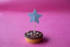 Biscotto di Natale con il cappello a cilindro della stella su fondo rosa Fotografia Stock