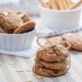 Biscotto di pepita di cioccolato con la mandorla Immagini Stock Libere da Diritti