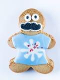 Biscotto divertente del pan di zenzero su un fondo bianco Fotografia Stock Libera da Diritti