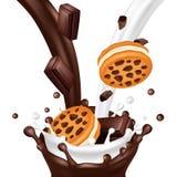 Biscotto dolce con cioccolato isolato su fondo bianco Il latte ed il cioccolato realistici scorre illustrazione di vettore royalty illustrazione gratis