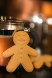 Biscotto e caffè del pan di zenzero Fotografia Stock Libera da Diritti