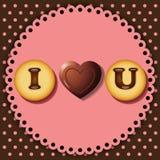 Biscotto e cioccolato con le parole ti amo Fotografia Stock