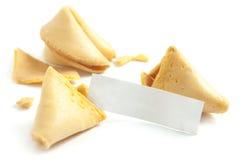 Biscotto e messaggio di fortuna su bianco fotografie stock libere da diritti