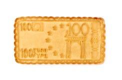 Biscotto in euro del modulo isolato su bianco Immagini Stock Libere da Diritti