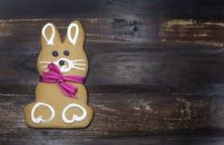 Biscotto felice del pan di zenzero del coniglio di coniglietto di pasqua con con lo spazio della copia Fotografia Stock